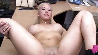 Blonde stripper pawns her twat and boned