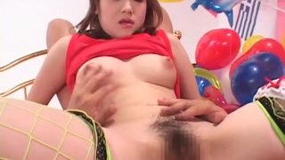 Classic JAV hairy actress spread for cunnilingus