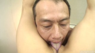 Hungry for cock Aya Sakuraba sucks the dick being up side down and gets banged doggystyle