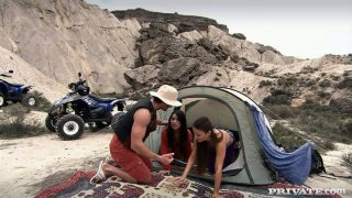 Camping ended up with threesome with nasty brunette Claudia Rossi