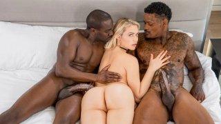 College blonde slut in an interracial threesome