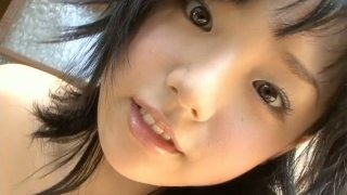 Cute Japanese brunette Ai Shinozaki jasm her boobs with delight