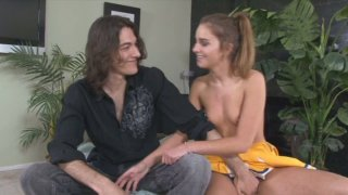 Undressing sporty nympho Natalie provides a dick with a handjob