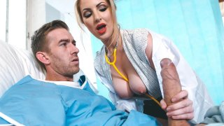 Hot blonde nurse gets a massive facial by a patient