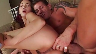 Sucking and getting ass fucked by her hunk