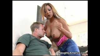 Seductive MILF babe Demi Delia treats her partner with blowjob