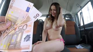 Euro slut Taylor Sands shows us her big juicy tits for cash
