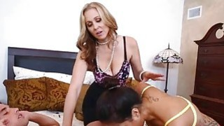 Julia Ann and Abby Lee Brazil hot trio in the bedroom